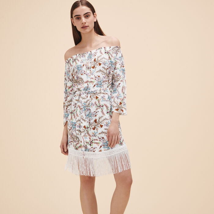 Printed dress with fringes - See all - MAJE