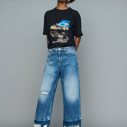 Wide jeans with distressed detailing : Le denim color Blue