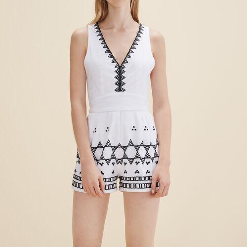 Sleeveless playsuit : Skirts & Shorts color Ecru
