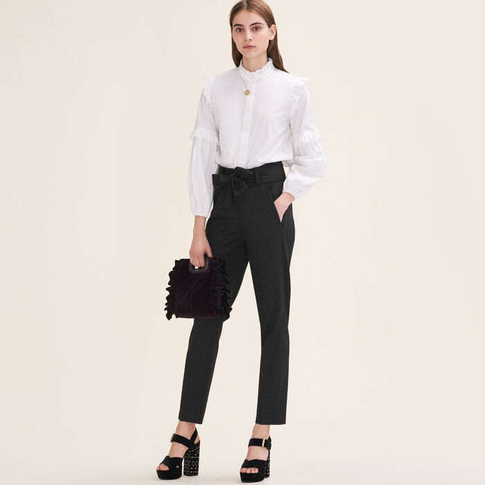 Carrot trousers with bow : See all color Black 210