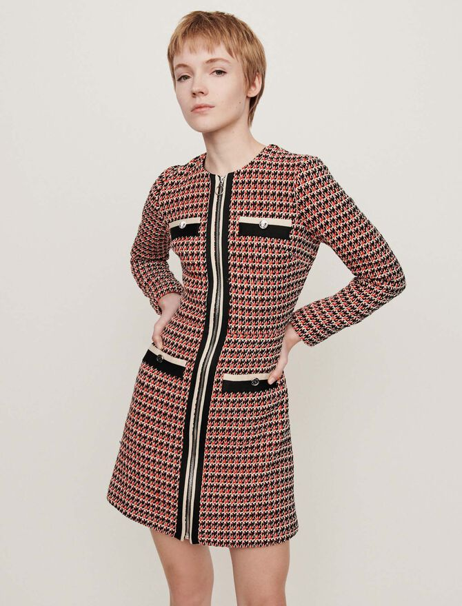 Tweed-style contrast dress - Dresses - MAJE