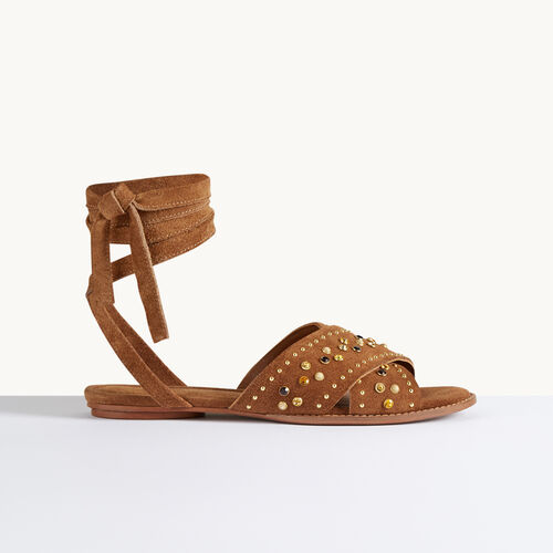 Flat sandals with studs : Accessories color Red
