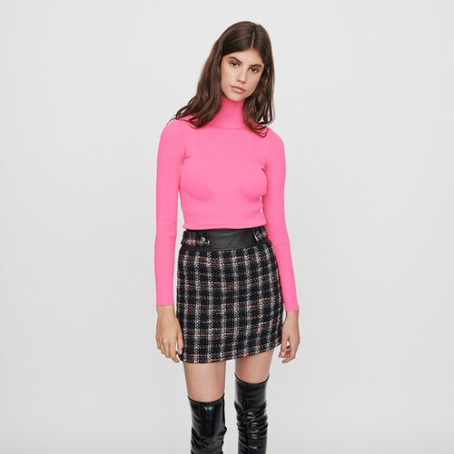 Light ribbed turtleneck sweater : Knitwear color Fluorescent Pink