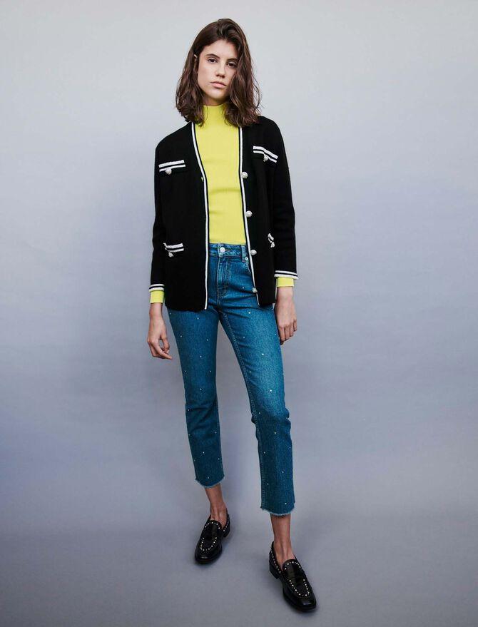 Jeweled contrast cardigan - Knitwear - MAJE