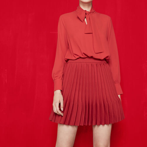 Leather jacket with removable collar : Dresses color Red