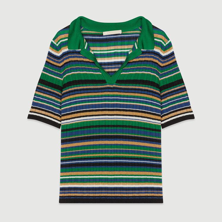Striped knit polo : Knitwear color Multico