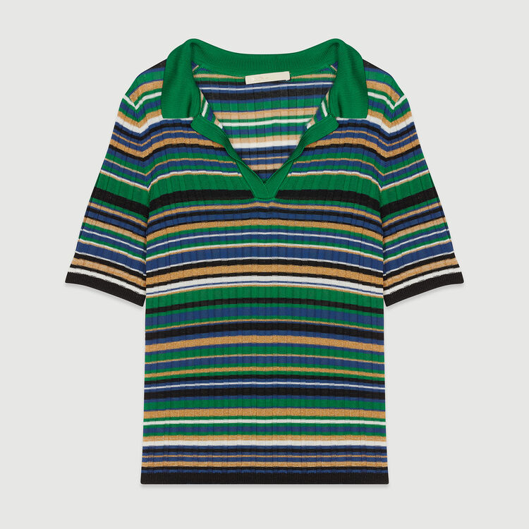 Striped knit polo : Knitwear color Multico