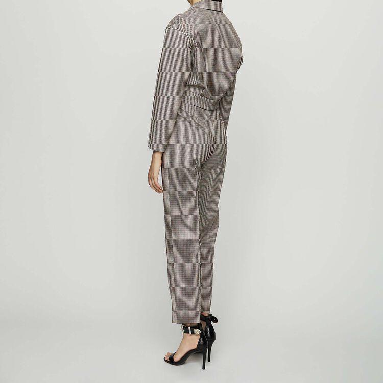 Belted plaid jumsuit : Trousers color CARREAUX