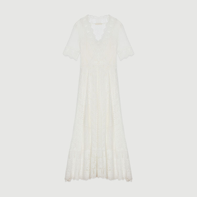 Long Swiss dot dress with daisy lace : Dresses color WHITE