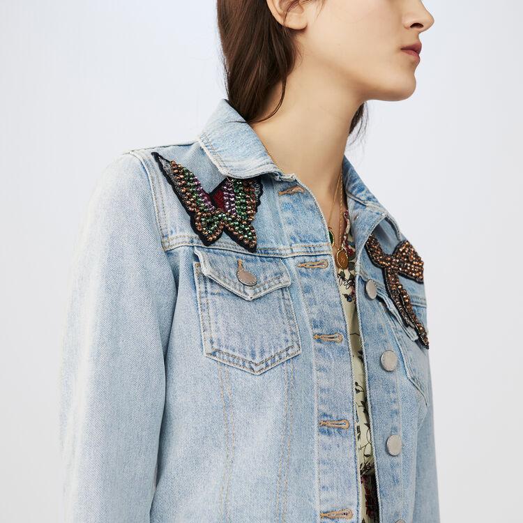 Short denim jacket with badge : Blazers color Blue