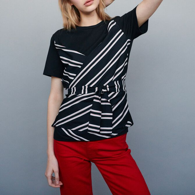 Top with double-material inset - Tops - MAJE