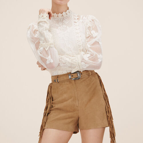 Suede shorts : Skirts & Shorts color Beige