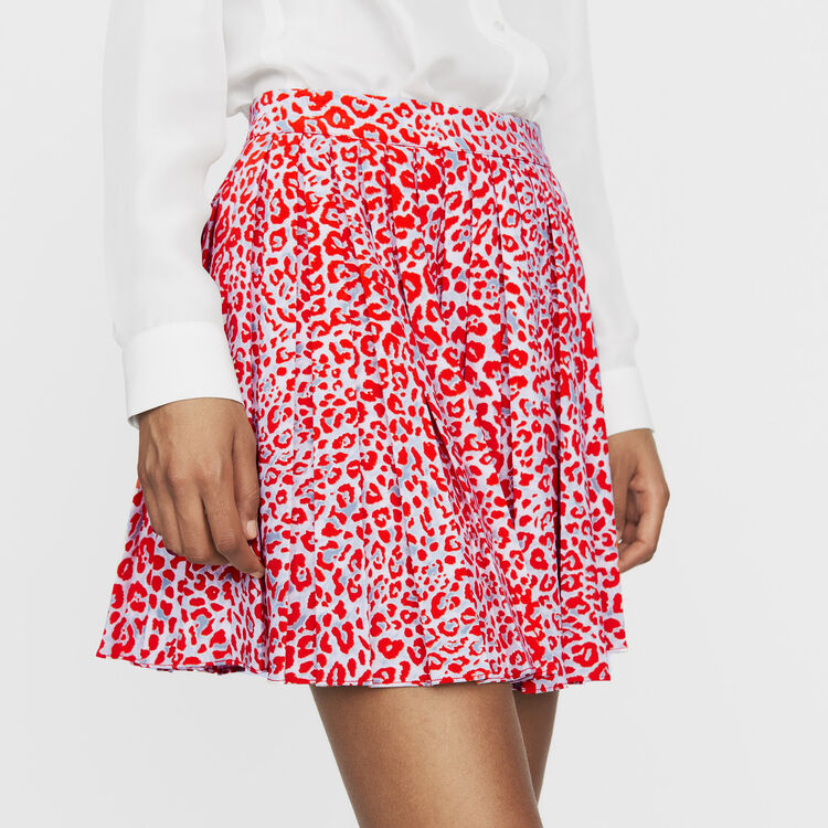 Pleated skirt with leopard print : New Collection color PRINTED