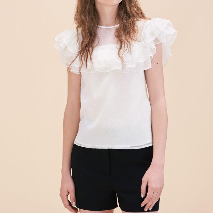 Silk and dotted Swiss dress -  - MAJE