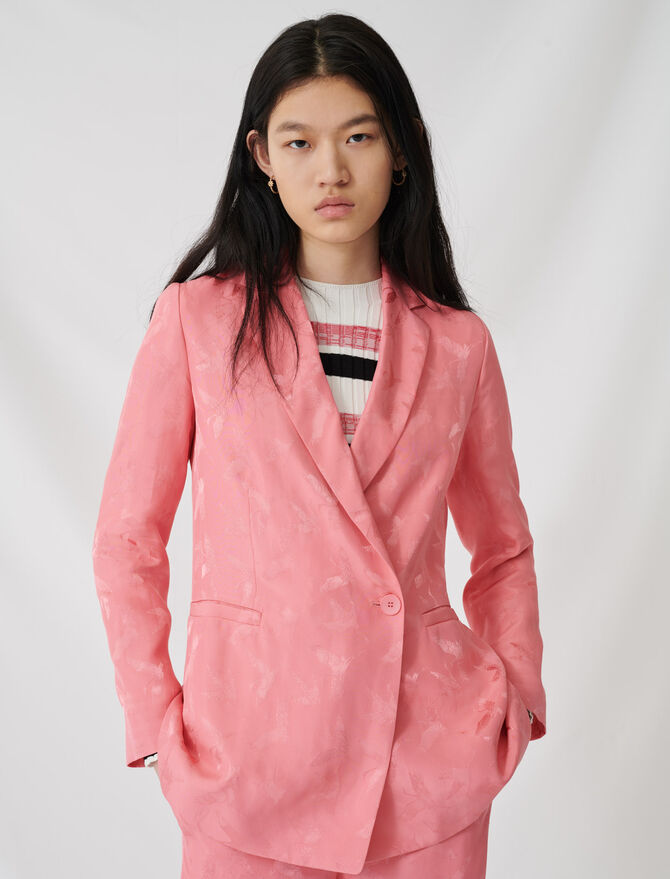 Satiny jacquard double-breasted jacket -  - MAJE