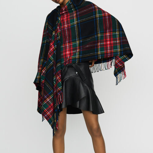 Tartan cashmere poncho : New collection color Multico