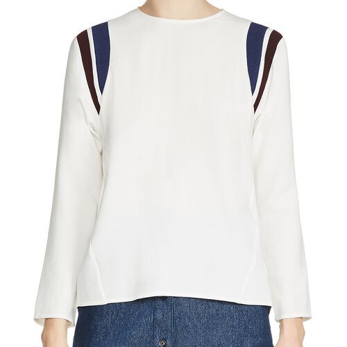Top with sportswear-style bands : Tops color Ecru
