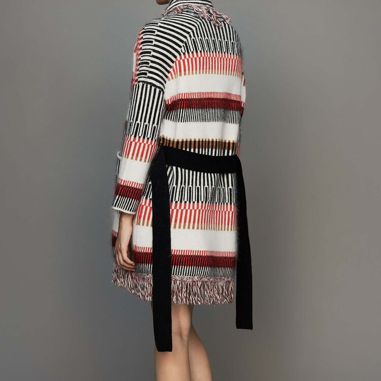 Cardigan in wool blend with fringes : Knitwear color Multico
