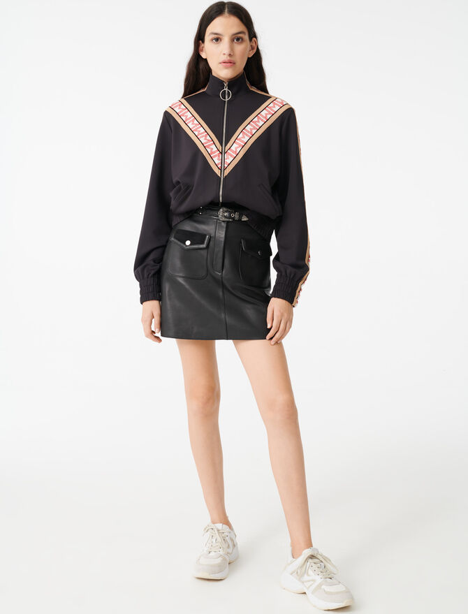 Zip sweatshirt with contrasting bands -  - MAJE