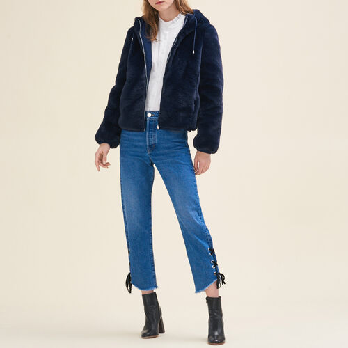 Cropped faux fur jacket : Jackets color Blue