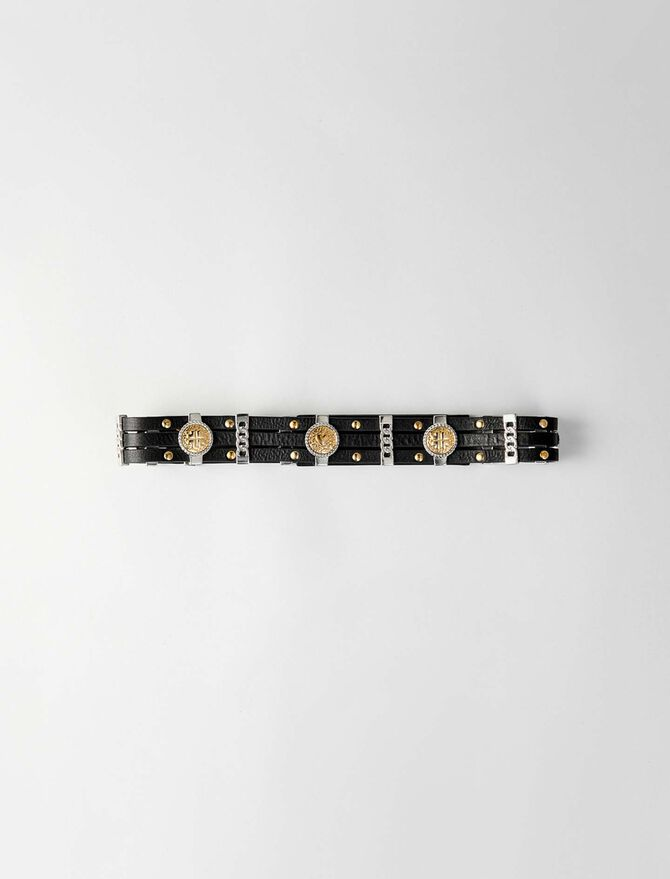 Leather belt with medallions - Belts - MAJE