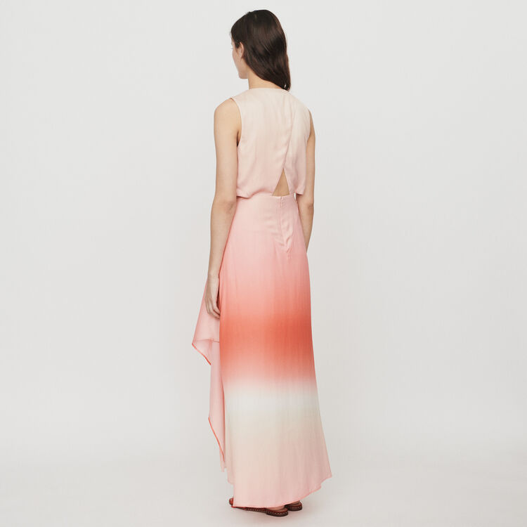 Long tie dye dress in satin : Dresses color Coral