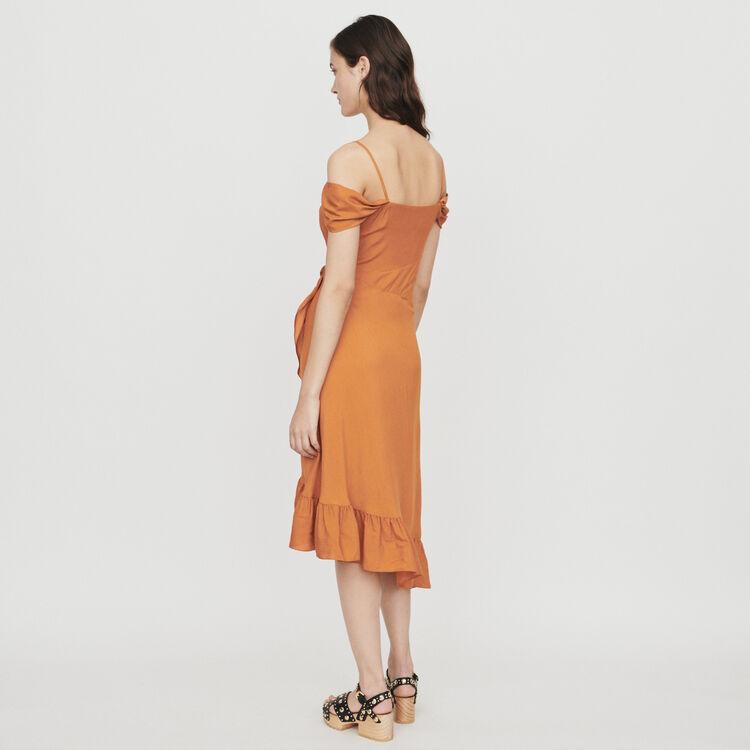 Midi wrap dress with bare shoulders : Dresses color Terracota