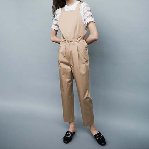 Jumpsuit with elasticated belt : Trousers color Beige