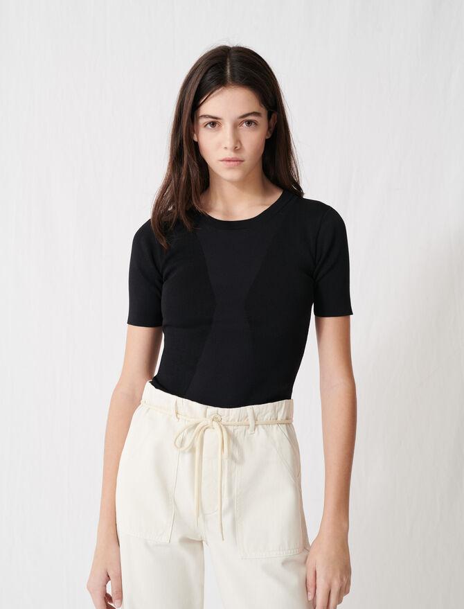 Charcoal black short-sleeved jumper - Knitwear - MAJE