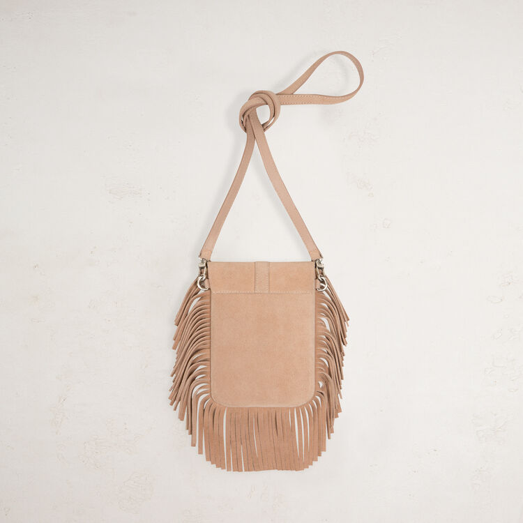 Suede shoulder bag with fringes - Shoulder bag - MAJE