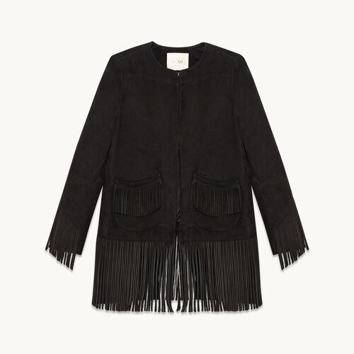 Suede fringed jacket - null - MAJE
