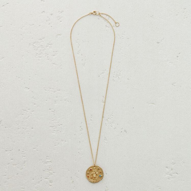 Aquarian zodiac sign necklace : Medallions color GOLD