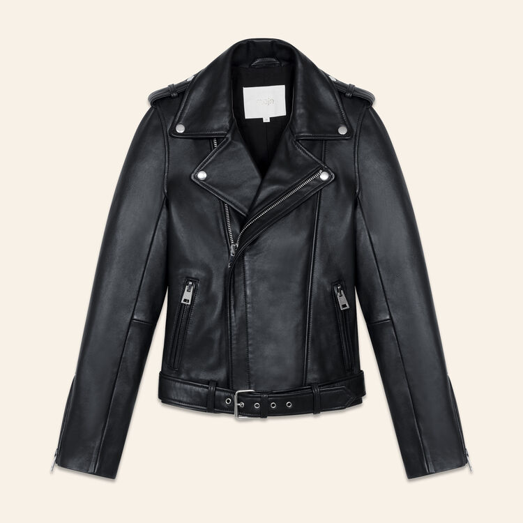 Belted biker jacket in leather : Ready to wear color Black 210