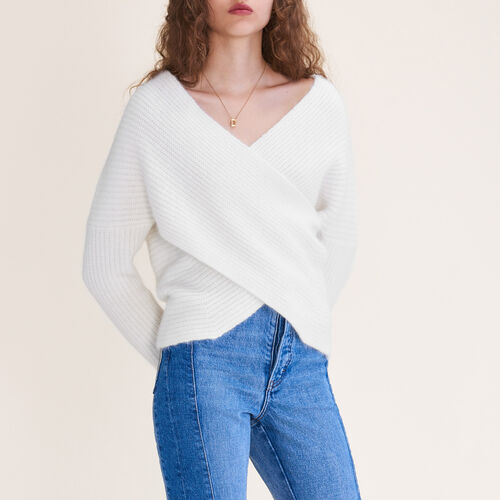 Knitted wrap front jumper : Ready to wear color Ecru