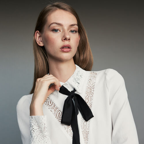 Lavalier shirt with lace : Shirts color White
