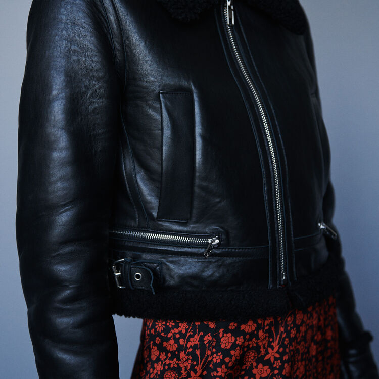 Leather jacket with shearling collar : Coats & Jackets color Black