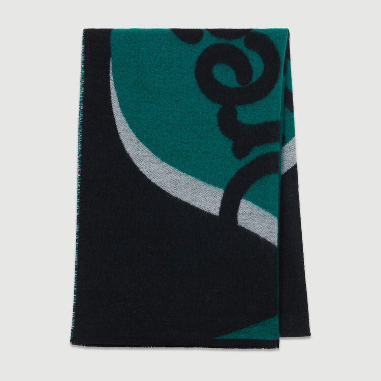 Printed scarf in cashmere : Shawls & Ponchos color Black 210