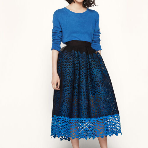 Honeycomb knit and guipure skirt : Skirts & Shorts color Blue