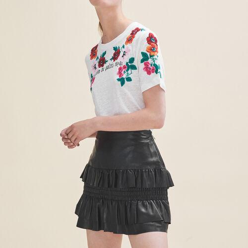 Flounced leather skirt - Skirts & Shorts - MAJE