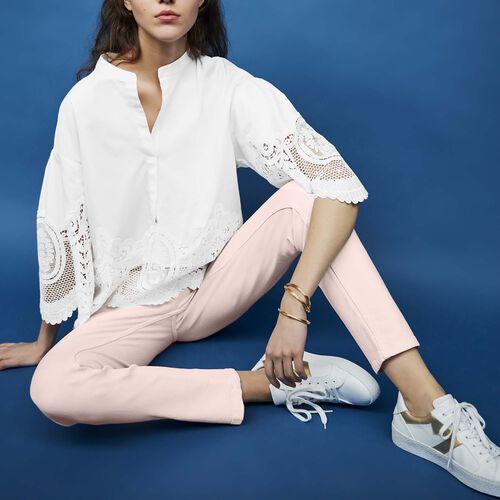 Cotton top with lace detailing : Tops color ECRU