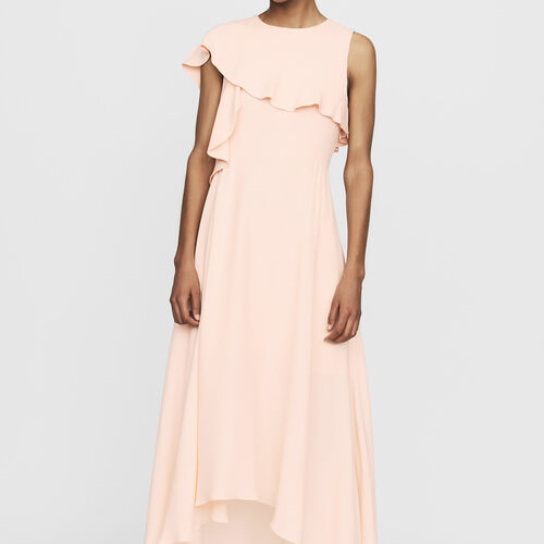 Long sleeveless asymmetric crepe dress : New Collection color PECHE