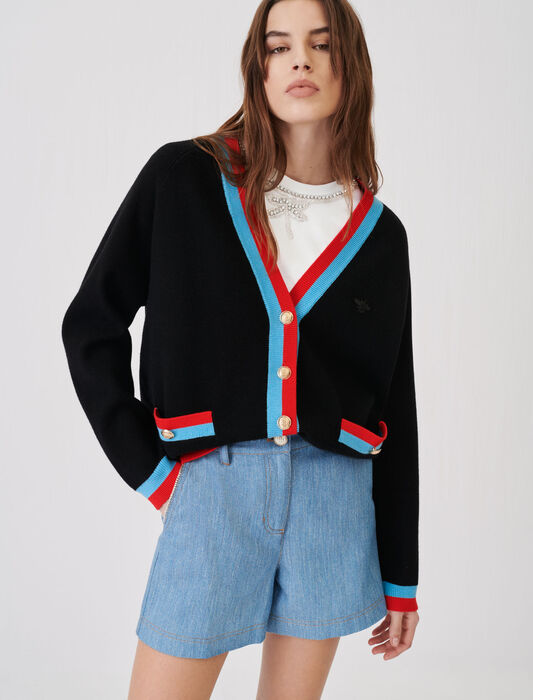 Cardigan with contrasting bands : Knitwear color Black