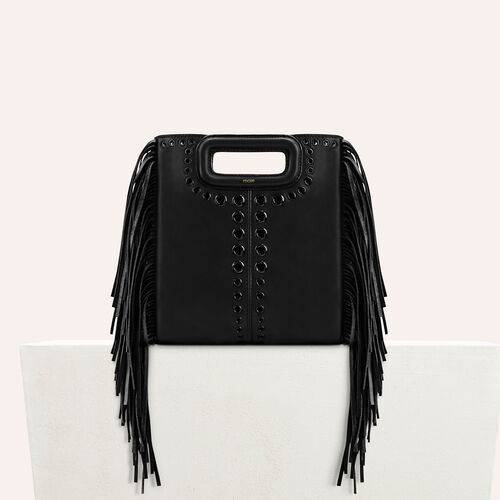 Leather M bag with eyelets and fringing - M bags - MAJE