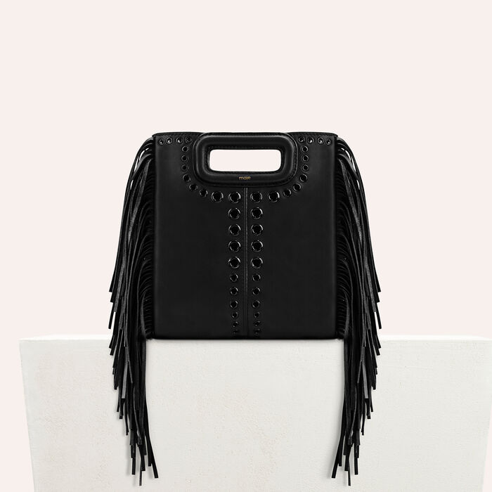 Leather M bag with eyelets and fringing : Shop by color