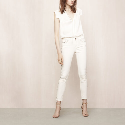 Slim jeans with rivets : Trousers & Jeans color Ecru