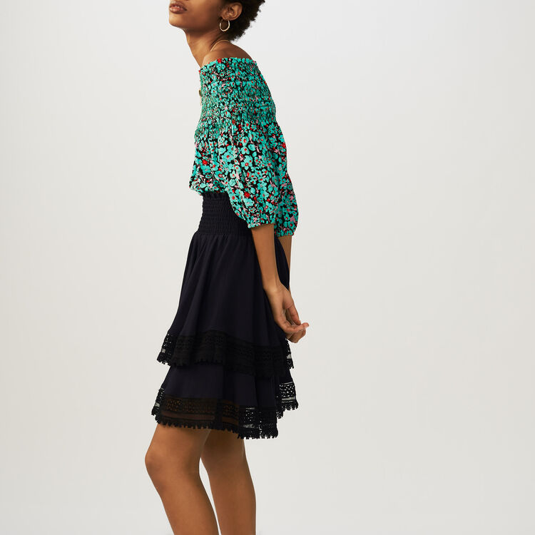 Flounced skirt with lace : Skirts & Shorts color Navy