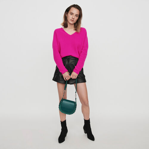 Cashmere V-neck sweater : Knitwear color Purple
