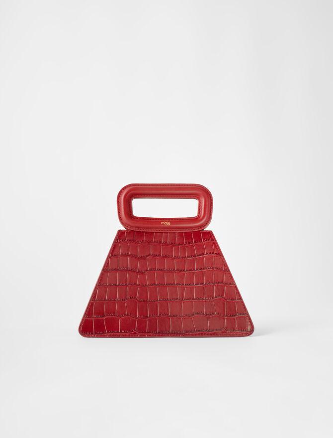 Embossed leather pyramid handle bag -  - MAJE