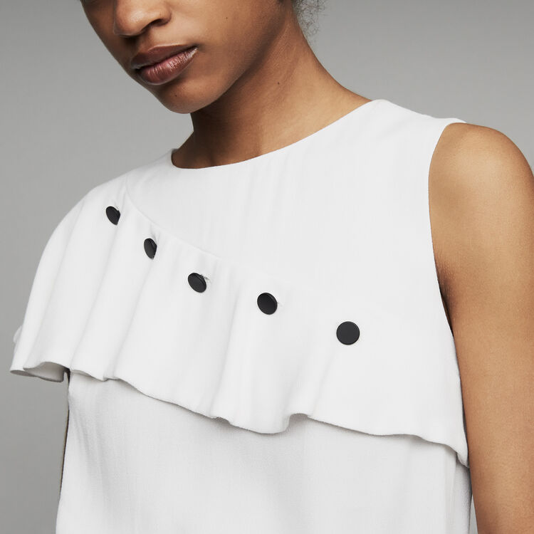 Sleeveless top with ruffle  : See all color White