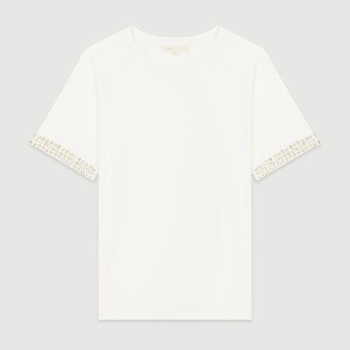 Open-work T-shirt with rhinestone : T-Shirts color Ecru